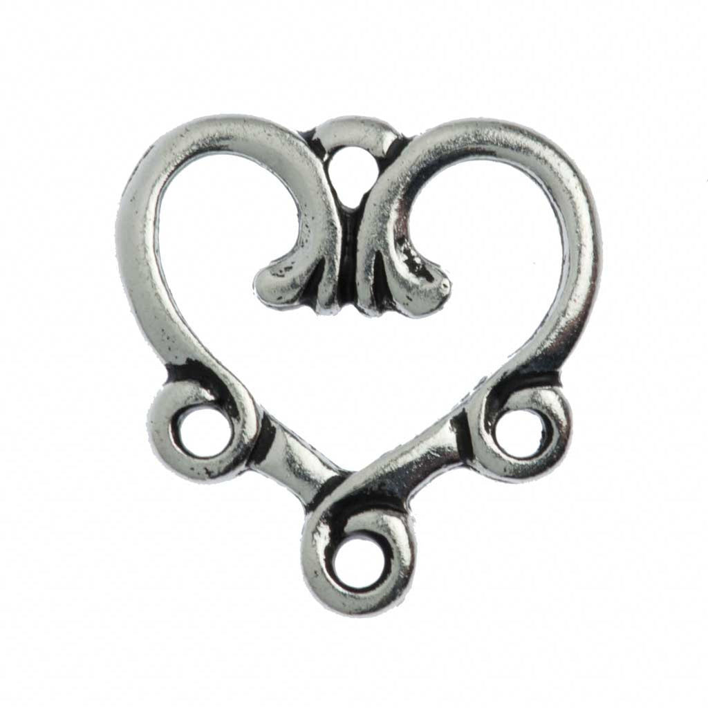 TierraCast Antique Silver Plated Pewter 3-1 Vine Heart Link