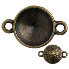 TierraCast Antique Brass Plated Pewter 12mm Textured Rivoli Frame Link