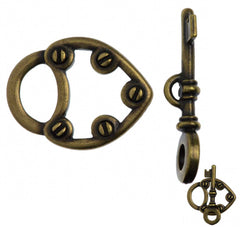 TierraCast Antique Brass Plated Pewter Lock and Key Toggle Clasp