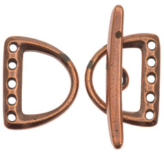 TierraCast Antique Copper Five Hole D-Ring Clasp Set