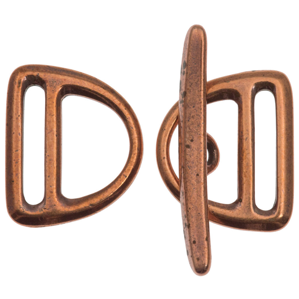 TierraCast Antique Copper Slotted D-Ring Clasp Set