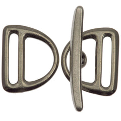 TierraCast Antique Pewter Slotted D-Ring Clasp Set