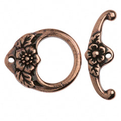 TierraCast Antique Copper Plated Pewter Floral Toggle Clasp