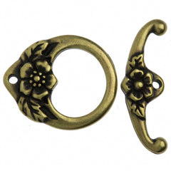 TierraCast Antique Brass Plated Pewter Floral Toggle Clasp