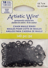 Artistic Wire Black 6.6mm Jump Ring 140pc 18 ga, I.D. 4.37mm