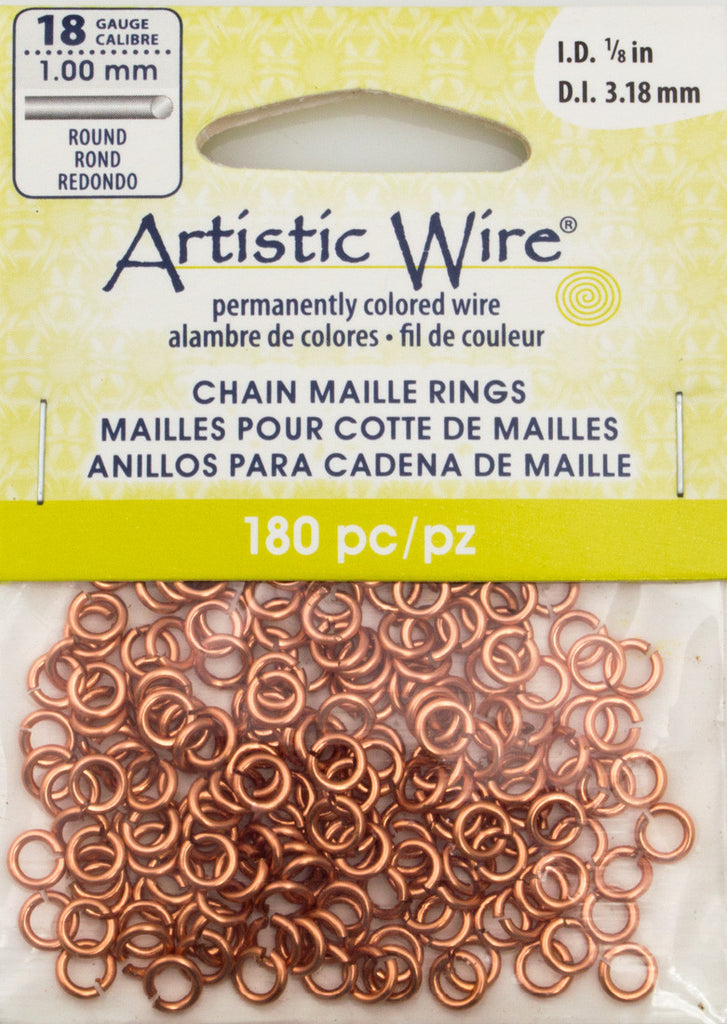 Artistic Wire Copper 5.25mm Jump Ring 180pc 18 ga, I.D. 3.18mm