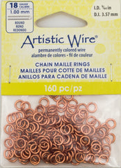 Artistic Wire Copper 5.7mm Jump Ring 160pc 18 ga, I.D. 3.57mm