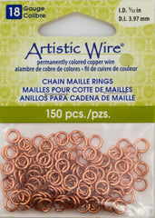 Artistic Wire Copper 6.2mm Jump Ring 150pc 18 ga, I.D. 3.97mm