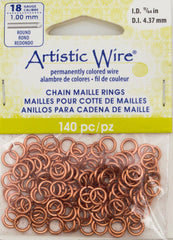 Artistic Wire Copper 6.6mm Jump Ring 140pc 18 ga, I.D. 4.37mm