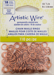 Artistic Wire Copper 7.7mm Jump Ring 110pc 18 ga, I.D. 5.56mm