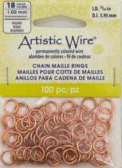 Artistic Wire Copper 8.1mm Jump Ring 100pc 18 ga, I.D. 5.95mm