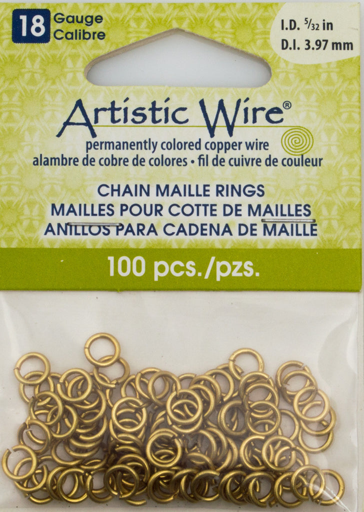 Artistic Wire Non Tarnish Brass 6.2mm Jump Ring 100pc 18 ga, I.D. 3.97mm