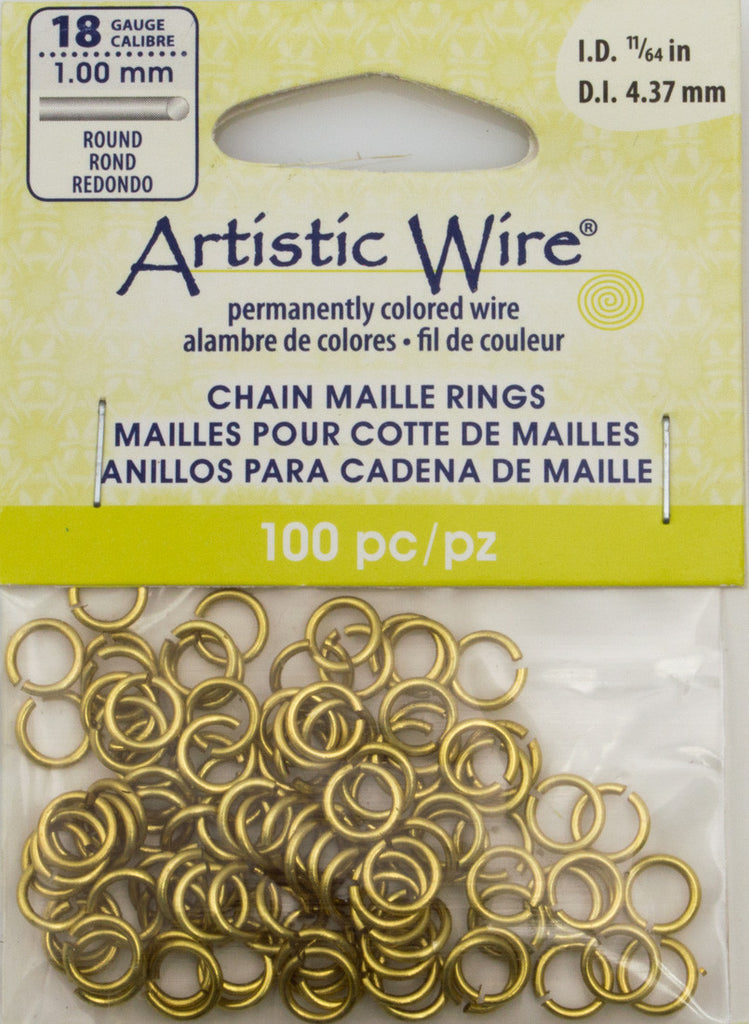 Artistic Wire Non Tarnish Brass 6.6mm Jump Ring 100pc 18 ga, I.D. 4.37mm