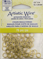 Artistic Wire Non Tarnish Brass 7.7mm Jump Ring 75pc 18 ga, I.D. 5.56mm