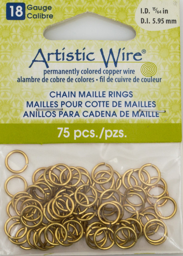 Artistic Wire Non Tarnish Brass 8.1mm Jump Ring 75pc 18 ga, I.D. 5.95mm