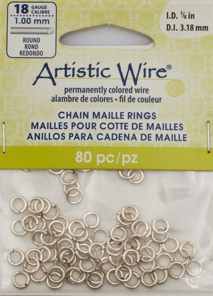 Artistic Wire Silver Plated 5.25mm Jump Ring 80pc 18 ga, I.D. 3.18mm