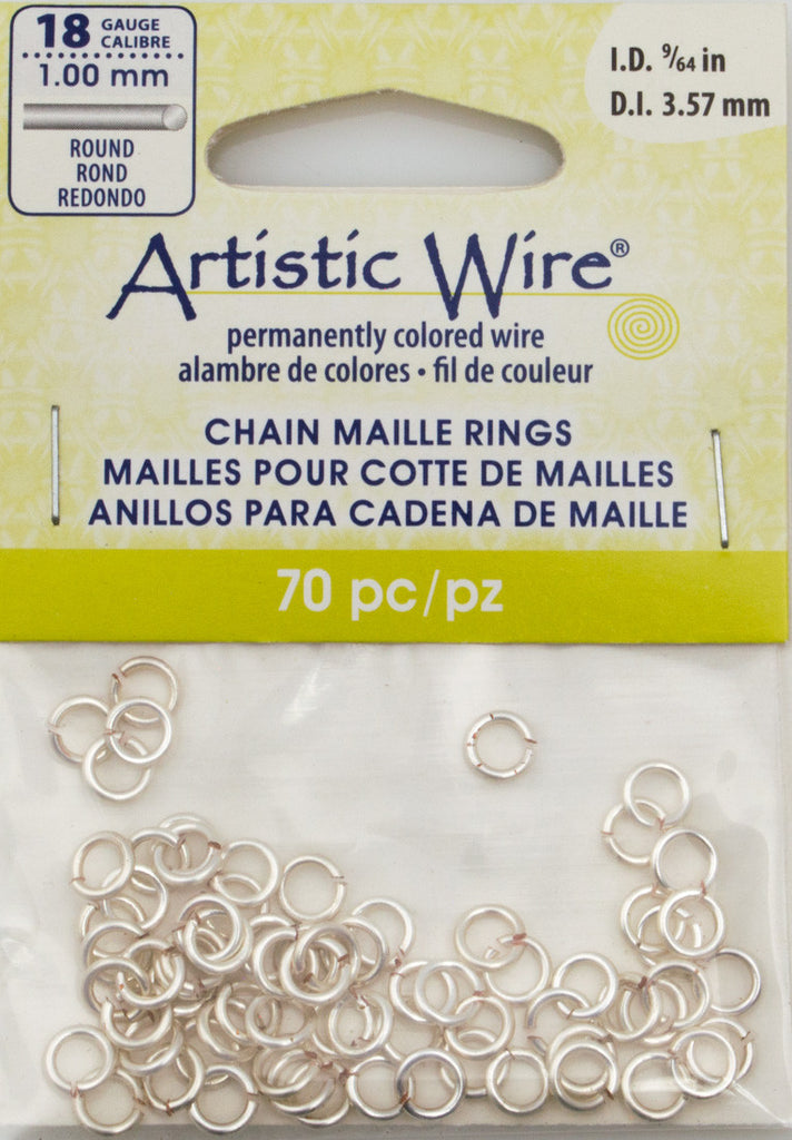 Artistic Wire Silver Plated 5.7mm Jump Ring 70pc 18 ga, I.D. 3.57mm