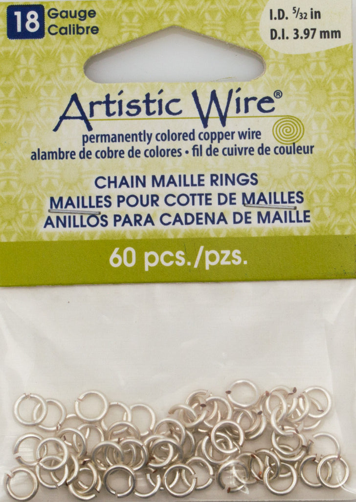 Artistic Wire Silver Plated 6.2mm Jump Ring 60pc 18 ga, I.D. 3.97mm