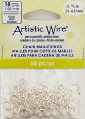 Artistic Wire Silver Plated 6.6mm Jump Ring 60pc 18 ga, I.D. 4.37mm
