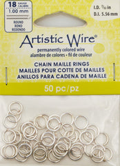 Artistic Wire Silver Plated 7.7mm Jump Ring 50pc 18 ga, I.D. 5.56mm