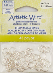 Artistic Wire Silver Plated 8.1mm Jump Ring 45pc 18 ga, I.D. 5.95mm