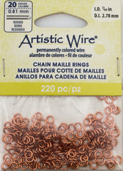 Artistic Wire Copper 4.4mm Jump Ring 220pc 20 ga, I.D. 2.78mm