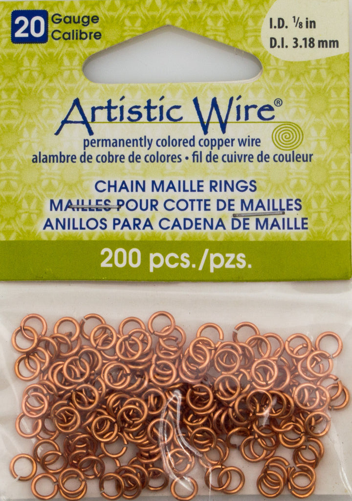 Artistic Wire Copper 4.8mm Jump Ring 200pc 20 ga, I.D. 3.18mm