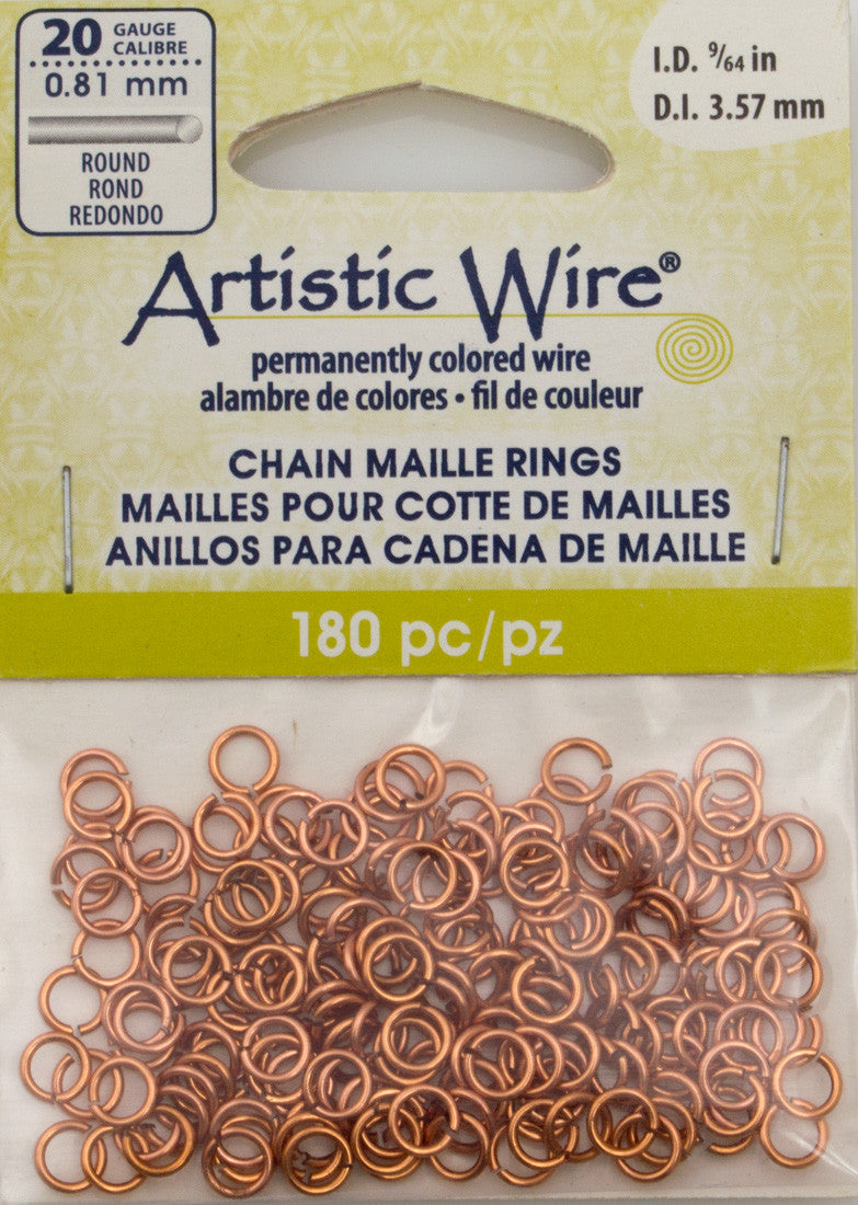 Artistic Wire Copper 5.3mm Jump Ring 180pc 20 ga, I.D. 3.57mm ...