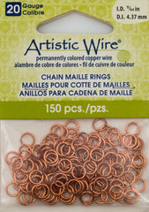 Artistic Wire Copper 6.13mm Jump Ring 150pc 20 ga, I.D. 4.37mm