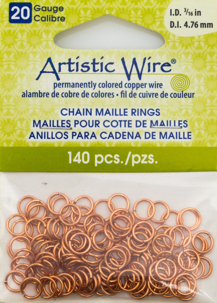 Artistic Wire Copper 6.38mm Jump Ring 140pc 20 ga, I.D. 4.76mm