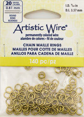 Artistic Wire Non Tarnish Brass 5.3mm Jump Ring 140pc 20 ga, I.D. 3.57mm