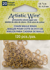 Artistic Wire Non Tarnish Brass 6.13mm Jump Ring 120pc 20 ga, I.D. 4.37mm