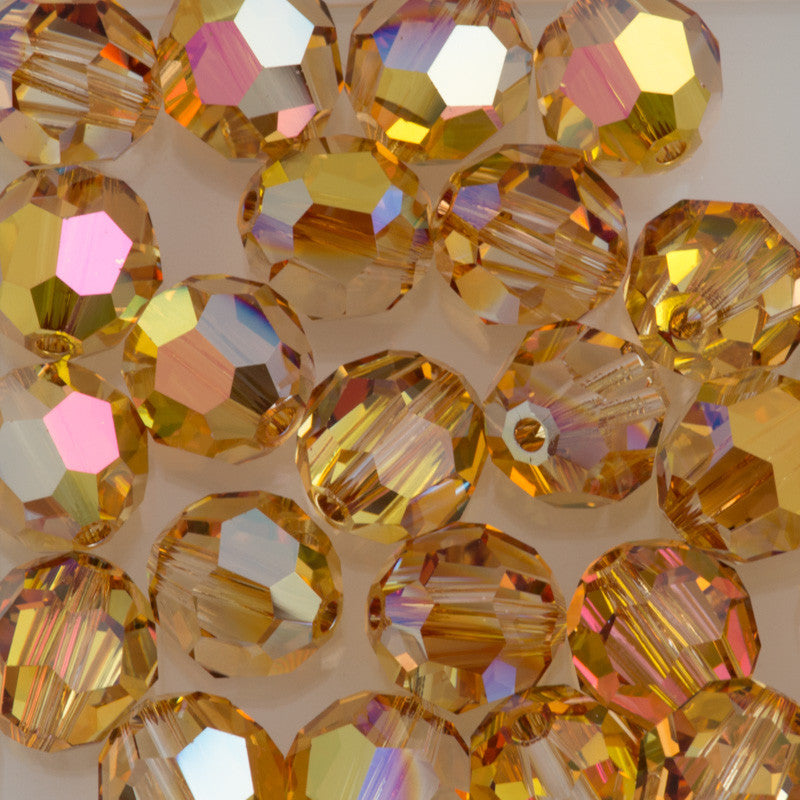 Swarovski Crystal 6mm 5000 Round Bead Metallic Sunshine (001 METSH)