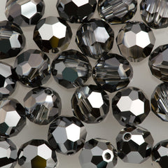 Swarovski 8mm 5000 Round Bead Crystal Silver Night (001 SINI)