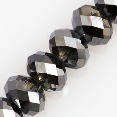 Swarovski 6x4mm 5040 Rondelle Bead Crystal Silver Night (001 SINI)