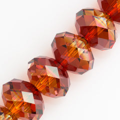 Swarovski 12x8mm 5040 Rondelle Bead Crystal Red Magma (001 REDM)