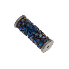 Swarovski 15mm 5950 Fine Rock Tube Bermuda Blue Steel (001 BBL)
