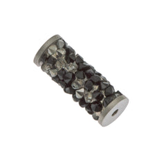 Swarovski 15mm 5950 Fine Rock Tube Jet Crystal Metallic Silver Steel (001 MULTI)