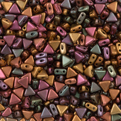 6mm Kheops Par Puca Two Hole Triangle Metallic Copper Iris Beads 2-inch Tube (01620K)