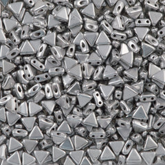 6mm Kheops Par Puca Two Hole Triangle Matte Metallic Silver Beads 2-inch Tube (01700K)