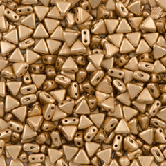 6mm Kheops Par Puca Two Hole Triangle Matte Metallic Flax Beads 2-inch Tube (01710K)