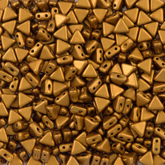 6mm Kheops Par Puca Two Hole Triangle Matte Metallic Antique Gold Beads 2-inch Tube (01740K)