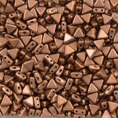 6mm Kheops Par Puca Two Hole Triangle Matte Metallic Bronze Copper Beads 2-inch Tube (01780K)