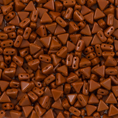6mm Kheops Par Puca Two Hole Triangle Opaque Brown Beads 2-inch Tube (13600)
