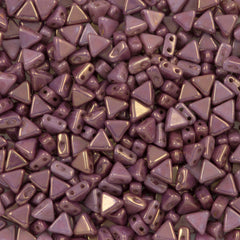 6mm Kheops Par Puca Two Hole Triangle Violet Gold Luster Beads 2-inch Tube (14496)