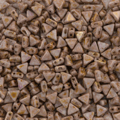 6mm Kheops Par Puca Two Hole Triangle Opaque Smoky Topaz Gold Luster Beads 2-inch Tube (15695P)