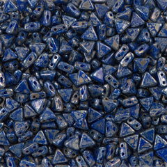 6mm Kheops Par Puca Two Hole Triangle Opaque Blue Picasso Beads 2-inch Tube (33050T)