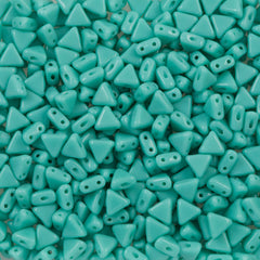 6mm Kheops Par Puca Two Hole Triangle Opaque Turquoise 2-inch Tube (63130)