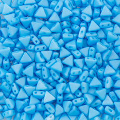 6mm Kheops Par Puca Two Hole Triangle Silk Matte Aqua Beads 2-inch Tube (92626)