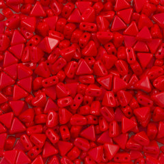 6mm Kheops Par Puca Two Hole Triangle Opaque Red 2-inch Tube (93200)